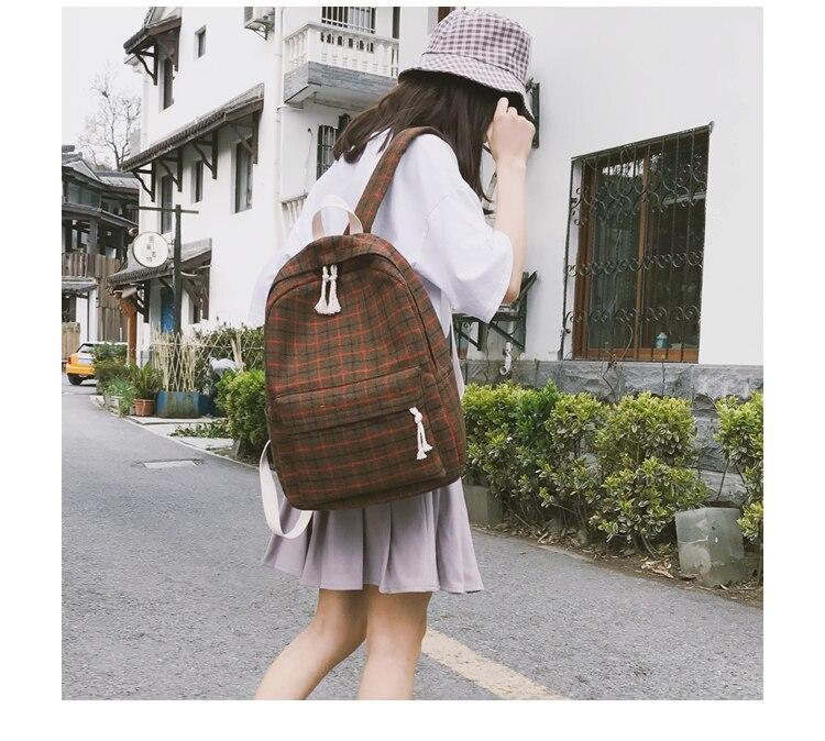 HTB1kicPa.GF3KVjSZFoq6zmpFXab 2 Pieces Japan style Plaid Style Women Backpack Pencil Case Student Girl School Bag Travel Shoulder Bag For Women 2019 Bagpack