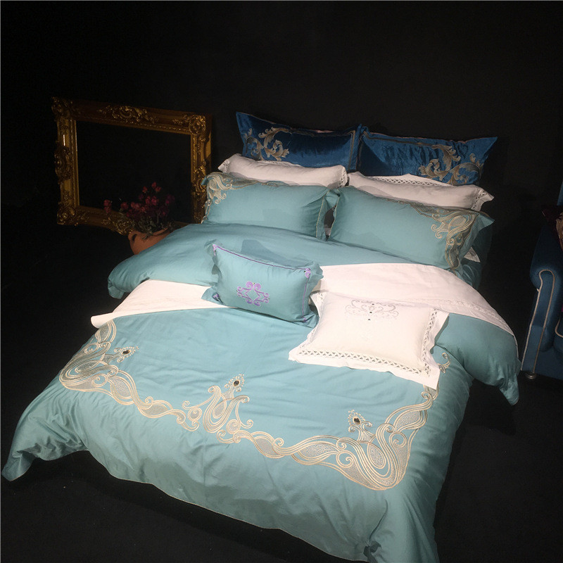 2018 Luxury wedding bedding sets supima cotton retro palace embroidery bed linen duvet cover bed sheet drap de lit bedclothes