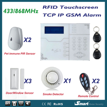 868 MHz Alarma Casa inalámbrica GSM SIM llamada tarjeta TCP IP de red Alarme sistemas, Control de Iphone Android app, inglés voz Indiation