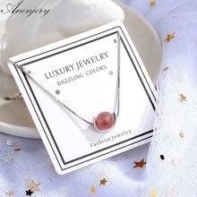 ANENJERY-pulsera de cuentas de cristal para mujer, de Plata de Ley 925, Fresa Natural Simple de moda, regalo para niña y mujer, pulsera S-B181