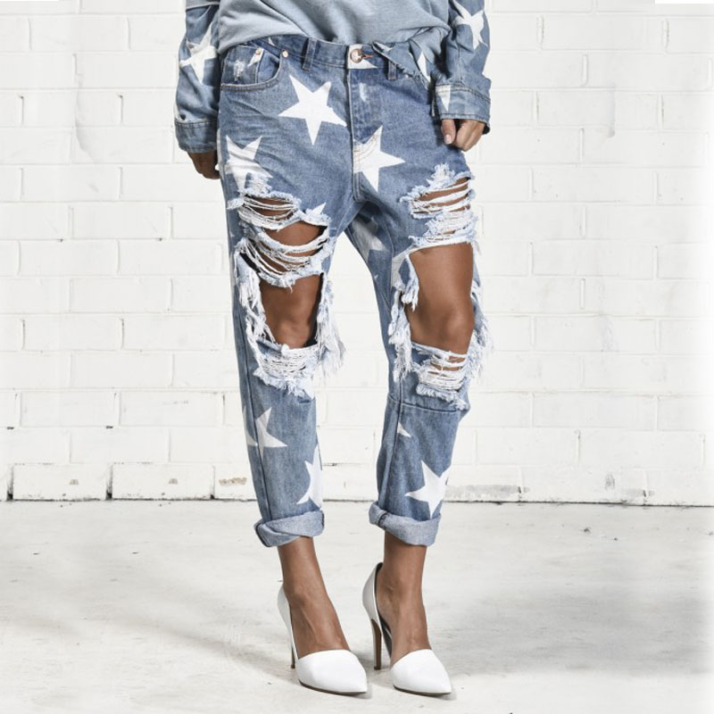 TREND-SetteR 2018 Summer Big Hole   Jeans   for Women With Five-pointed Star Ripped   Jeans   Light Blue Denim Pants Boyfriend   Jeans