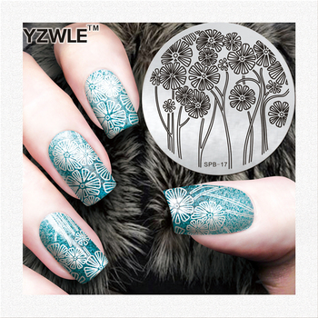 YZWLE Stainless Steel Template Nail Art Stamping Image Polish Plates Beauty Flowers Stencils For Nails image