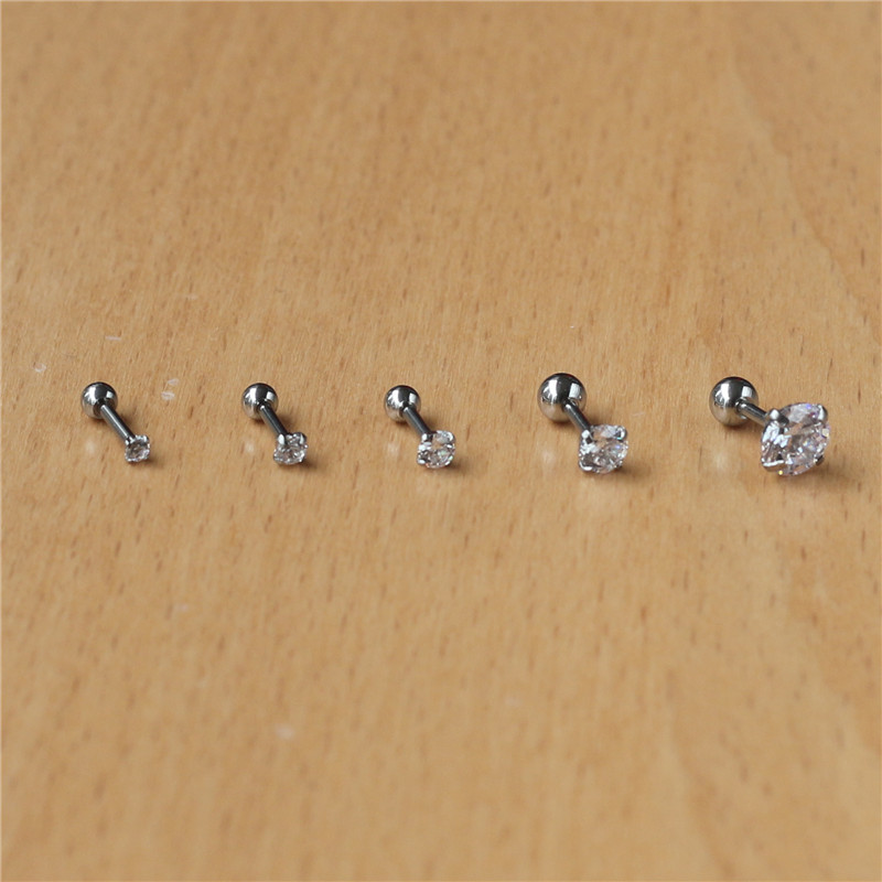 316l Stainless Steel Screw-back Zircon Stud Earrings 2mm To 8mm Classical Style No Fade Allergy Free