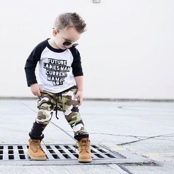 Toddler Kids Baby Boy Camo Outfits Clothes T-shirt Tops+Pants Trousers 2PCS Set 1