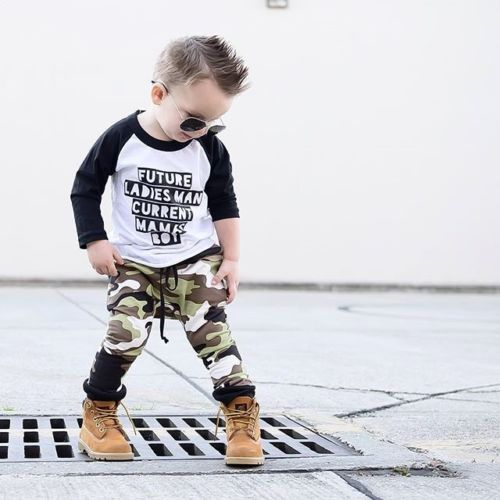 все цены на Toddler Kids Baby Boy Camo Outfits Clothes T-shirt Tops+Pants Trousers 2PCS Set