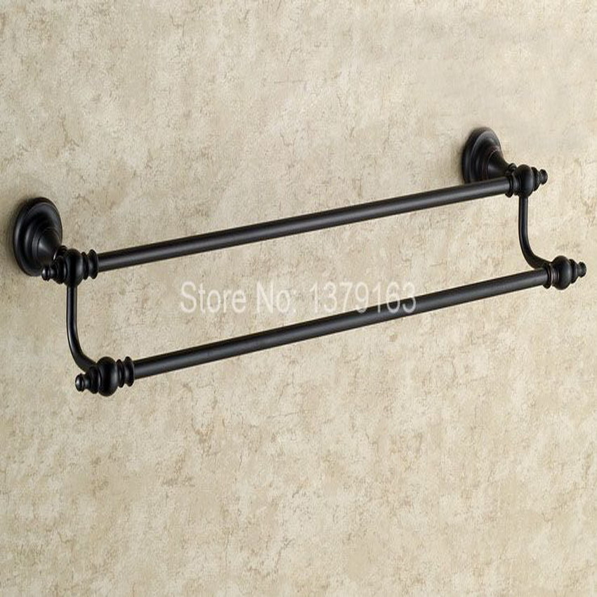 Bathroom Accessory Black Oil Rubbed Antique Brass Wall Mounted Bathroom Double Towel Rail Holder Rack Bar aba822 allen roth brinkley handsome oil rubbed bronze metal toothbrush holder
