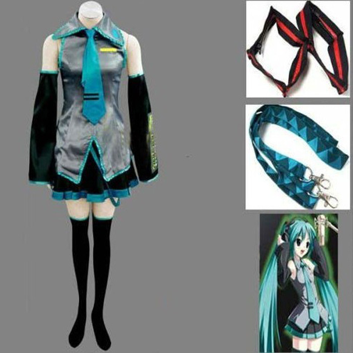 Vocaloid Hatsune Miku Cosplay Costume Clothes Theatrical Costume 10 piece tops+skirts+belt+tie+2 Gauntlets+2 socks+2 hairpins