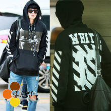 Autumn and winter exo 4S pyrex 1 for 13 s digital letter gray plus velvet with a hood sweatshirt