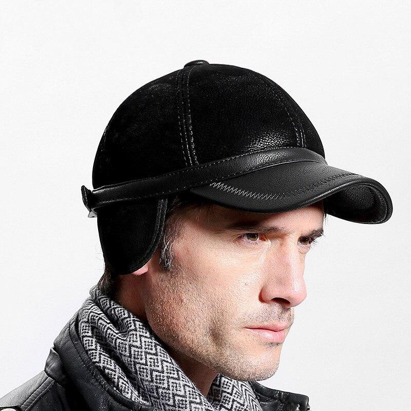 4c1cbb4d Leather Baseball Cap Men Thicken Fall Winter Hats 6 Panel Keep Warm Leather  Cap Male Hats Bone casquet Black