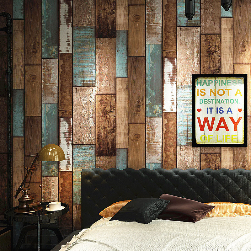 Retro nostalgic imitation wood grain wallpaper Personality fashion living room office cafe PVC decoration wallsticker
