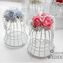 7*7*10 cm European-style wedding bells / candy box White Iron white bird cage style decoration