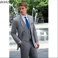 wedding light gray suit for men bridegroom suits wool bleed groom tuxedo for man 2016 high quality