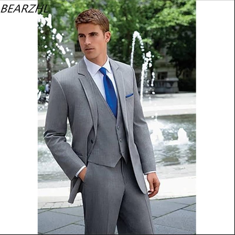 Wool Man Sute Wedding: Wedding Light Gray Suit For Men Bridegroom Suits Wool
