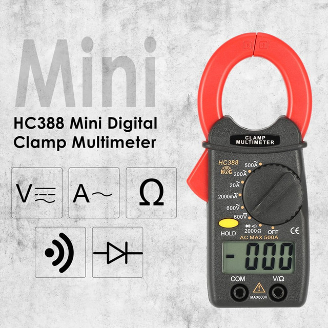 Dropshipping HC388 Mini Digital Clamp Meter Multimeter AC/DC Voltage Current Ohm Diode Tester 1999 Counts Data Hold Handheld