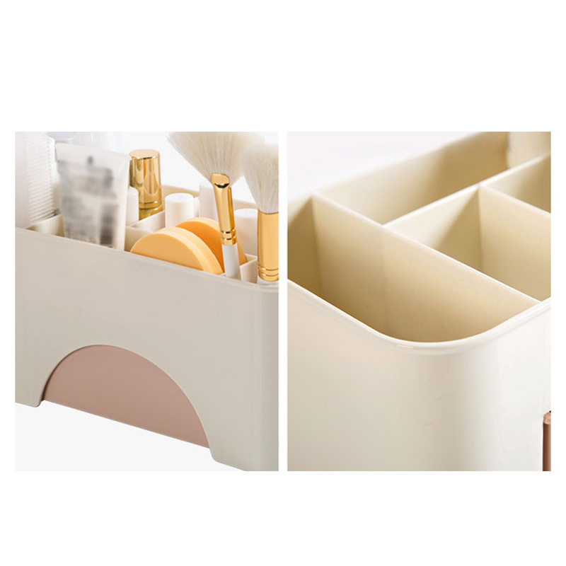 New Paratical Multifunction Plastic Cosmetic Storage Box with Small Drawer Jewelry Sundries Desk Container BS