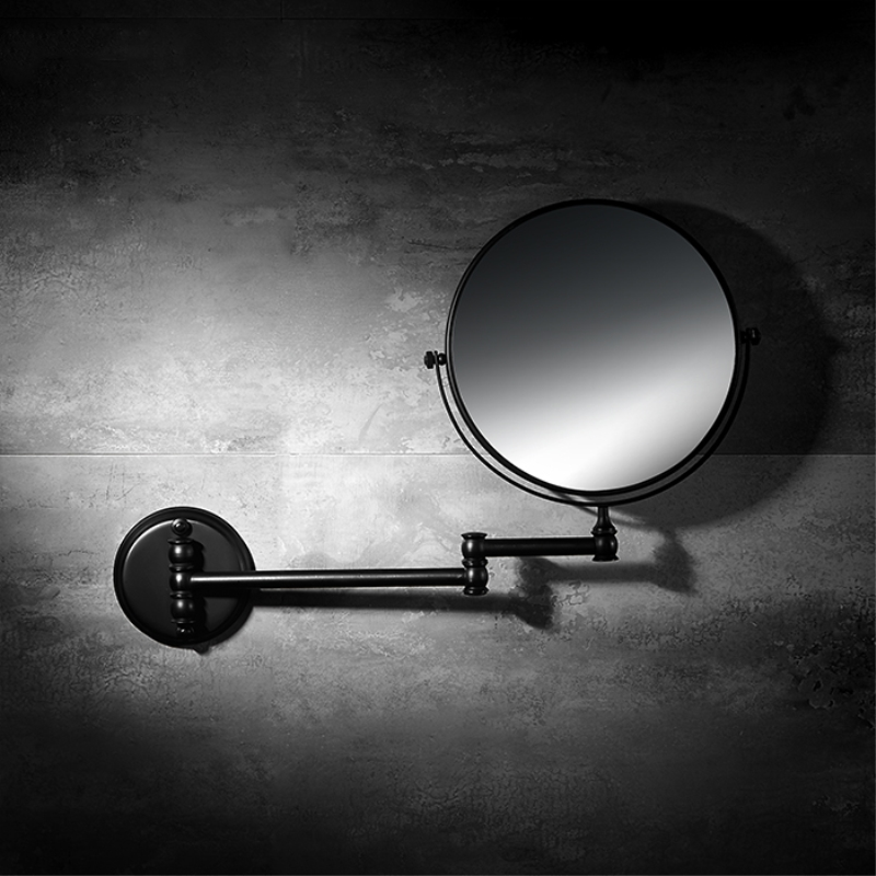 Bath Mirrors 8 Inch Folding Black Bathroom Mirror 7 3X Magnifying Double 2 Faced Makeup Mirror Desktop Women Wall Mirror 8 inch fashion high definition desktop makeup mirror 2 face metal bathroom mirror magnifying 360 degree rotating mirror