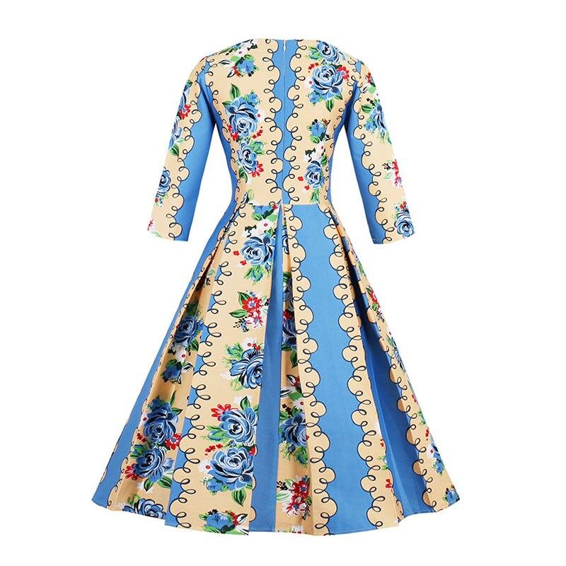 Sisjuly 1950 s de La Vendimia de Flores Vestidos de Otoño A Mediados ...