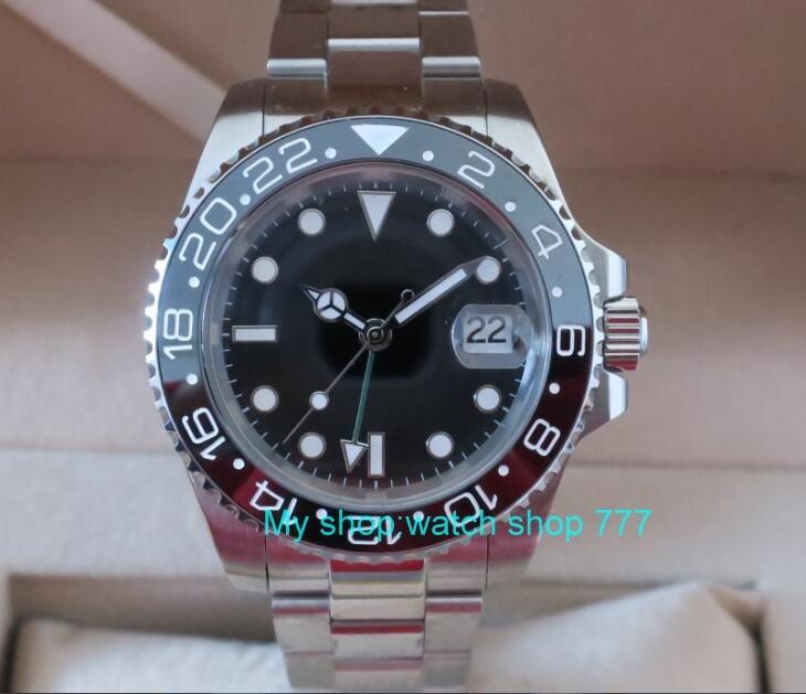 2107 nouvelle mode 40mm PARNIS GMT Saphir Verre Noir cerami Lunette Automatique Auto-Vent mouvement Hommes Montre Mécanique montres G6