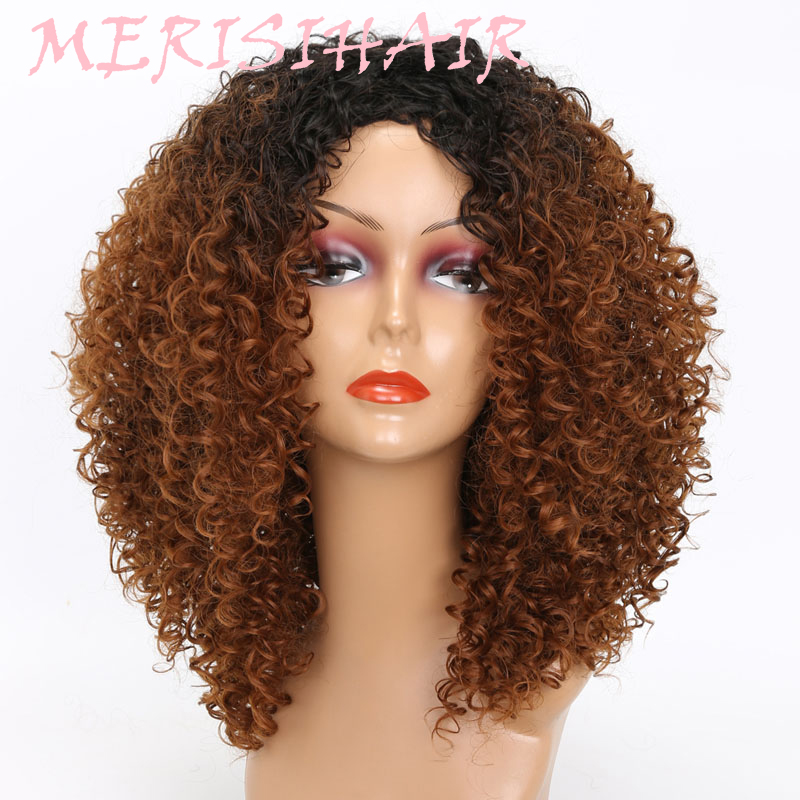 MERISI HAIR Long Kinky Curly Afro Wig Blonde Mixed Brown Color Synthetic Wigs for Black Women Heat Resistant Fiber 250g