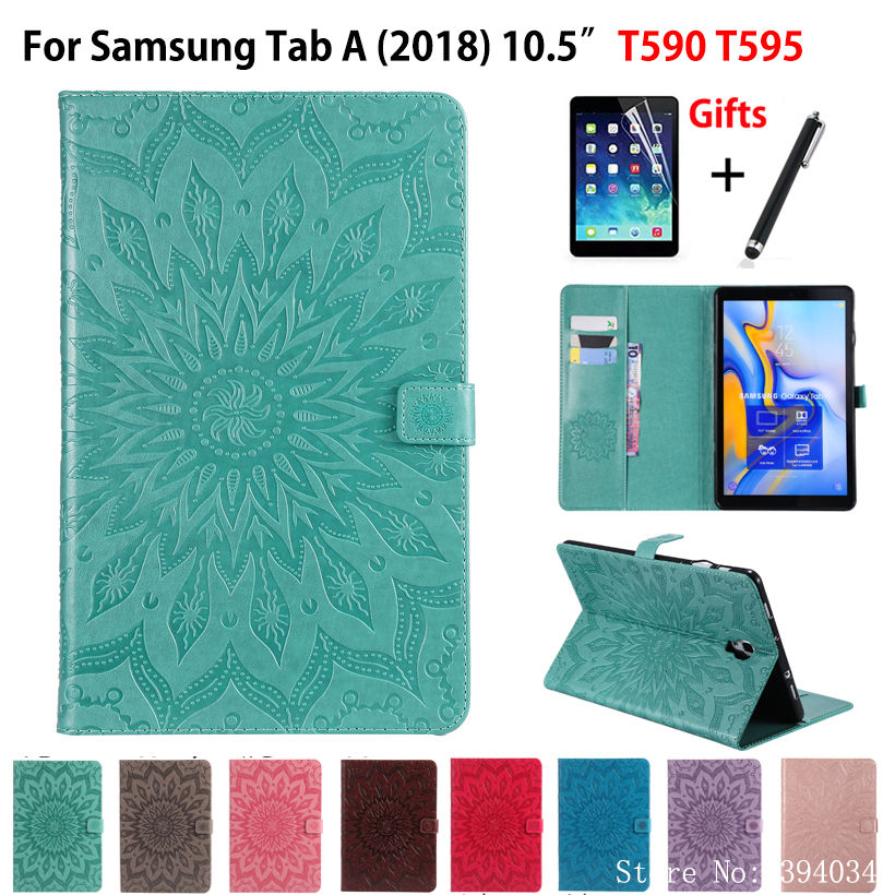 Fashion Tablet Case Cover For Samsung Galaxy Tab A A2 2018 10.5 T590 T595 T597 SM-T590 Funda PU leather Skin Shell +Film +PenFashion Tablet Case Cover For Samsung Galaxy Tab A A2 2018 10.5 T590 T595 T597 SM-T590 Funda PU leather Skin Shell +Film +Pen