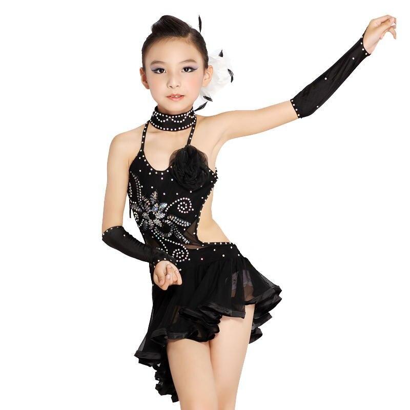 Children Sequined Latin Ballroom Dance Dress Kids Girls Dancewear ...