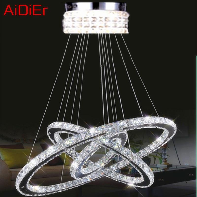 Llambë varëse me varëse moderne Dritë me shkallë të lartë 65W LED lustres K9 Llambadar kristal Diamanti 3 qarqe Unaza çeliku inox