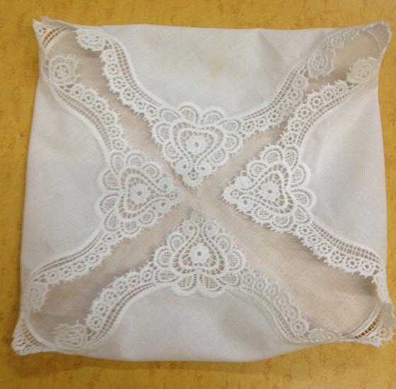 Set Of 12 Fashion Cotton Handkerchiefs 12-inch Wedding Handkerchief Sweeet Heart Hankie Vintage Lace Hanky For Bride/Ladies