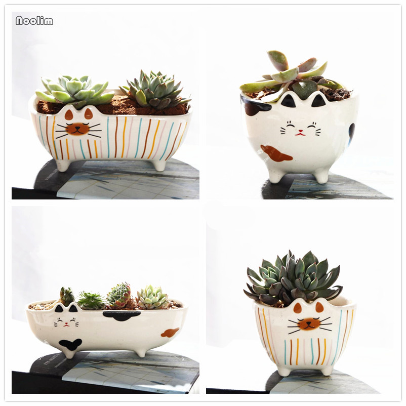 NOOLIM Cartoon Cat Flower Pot Retro Permeable Ceramic Green Plant Pots Living Room Office Garden Decoration plywood