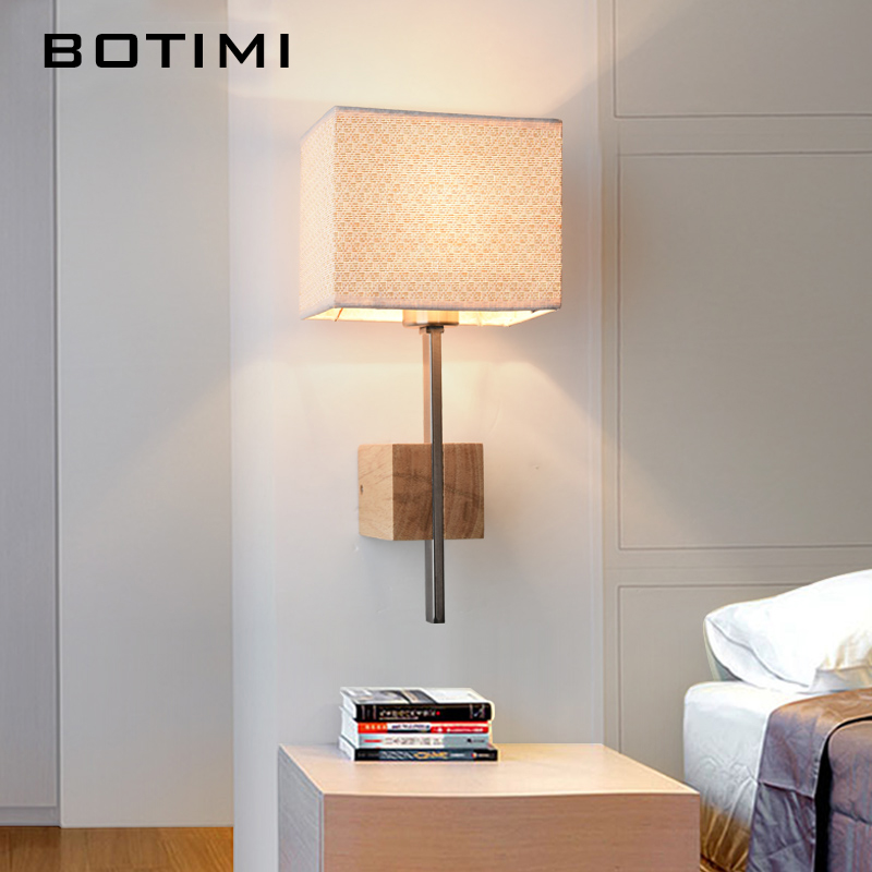 BOTIMI Fabric Lampshade Wall Lamp Nordic Wood Sconce For Bedroom American Style Study Lighting For Living Room Balcony Stairway american iron wall lamp white black fabric lampshade wall sconces fixture stairway living room hallway bedroom wall light wl281