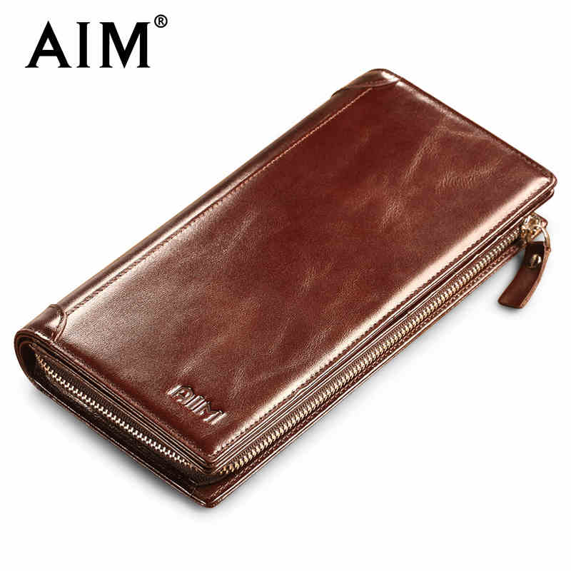 AIM Men's Vintage Long Purse Oil Wax Genuine Leather Wallet Men Famous Brand Design Vertical Phone Card Holder Coin Wallets A341 aim men short wallets 100% genuine cow leather wallet men famous brand knitting design card holder men s biford coin purse a293