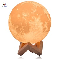 3D Print Moon Lamp 2 Color Change Touch Switch Bedroom Bookcase Usb Led Night Light Home