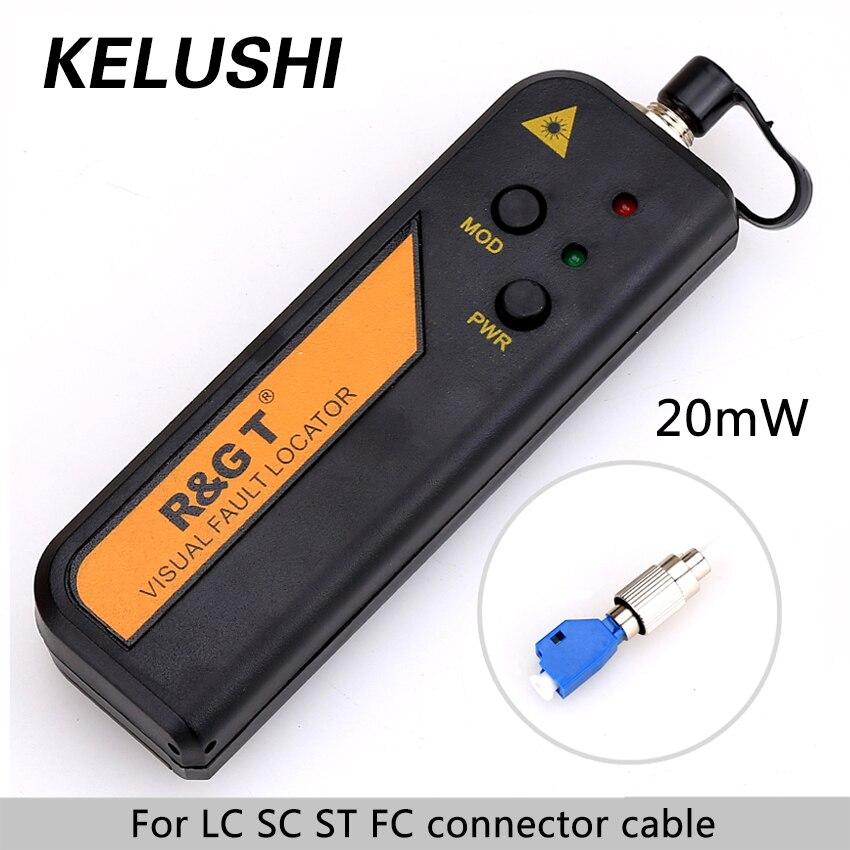 KELUSHI 20 km Mini Rouge Laser Source De Lumière En Fiber Optique Visual Fault Locator Cable Tester Outil de Test + LC/ FC/SC/ST Adaptateur FTTH