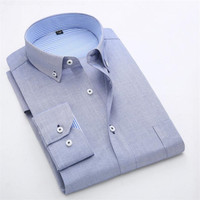 New Design Twill Cotton Pure Color White Business Formal Dress Shirts Men Fashion Long Sleeve Social