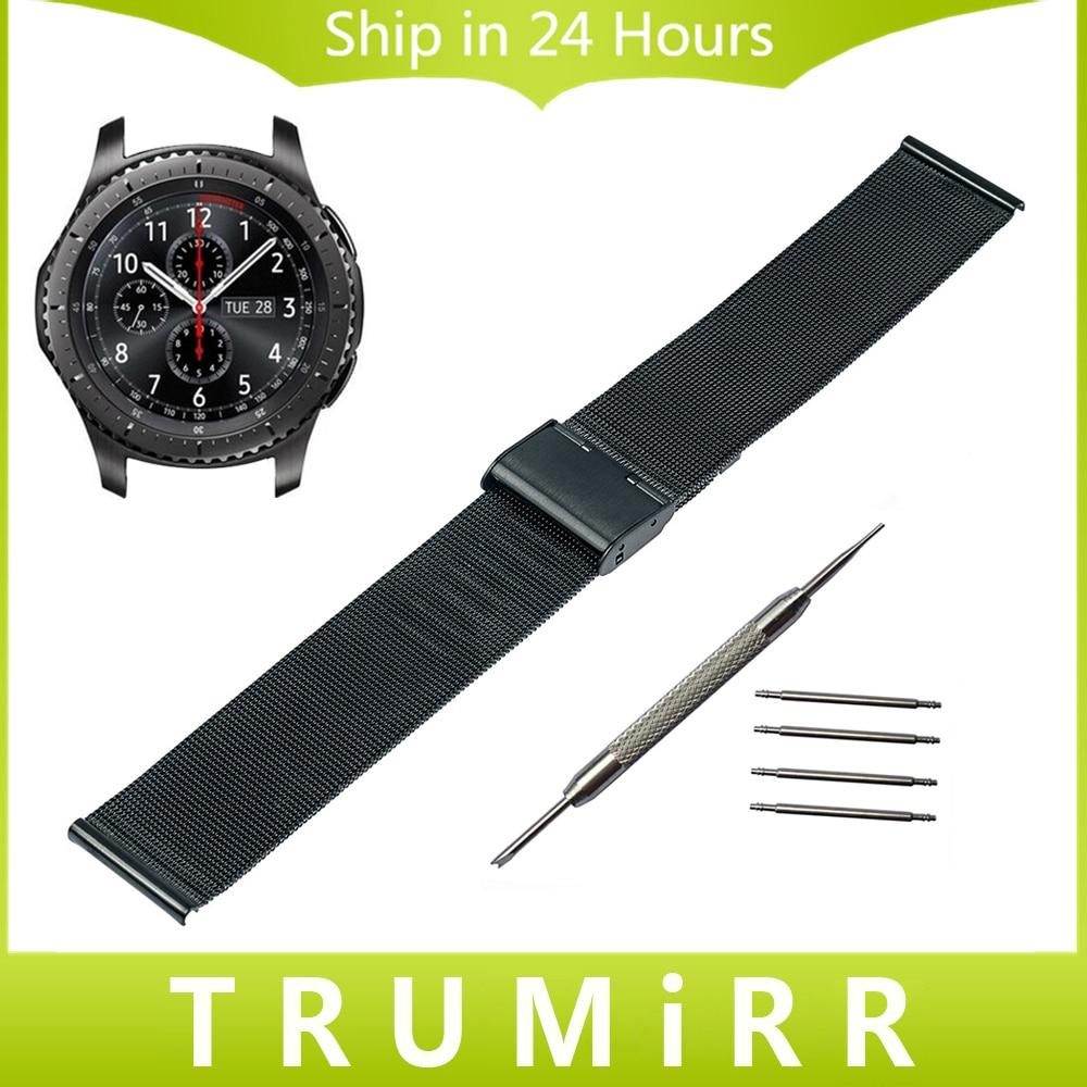 22mm Milanese Watchband + Tool for Samsung Gear S3 Classic Frontier Garmin Fenix Chronos Stainless Steel Strap Wrist Bracelet garmin fenix chronos с металлическим браслетом