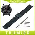 22mm milanese pulseira para samsung gear clássico s3/frontier aço inoxidável correia de pulso pulseira cinto preto rosa de ouro prata