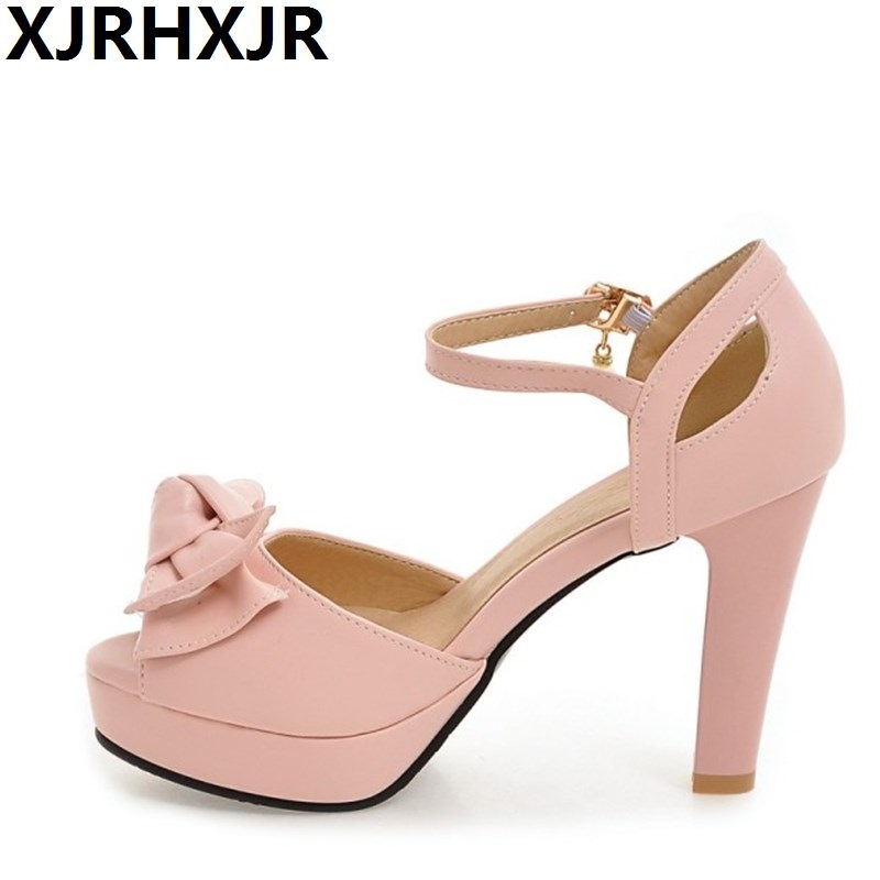 XJRHXJR Sweet Bow High Heels Shoes Woman Gladiator Summer Open Toe Sandals Ladies Casual Work Shoes Party Pumps Women Sandals summer wedges shoes woman gladiator sandals ladies open toe pu leather breathable shoe women casual shoes platform wedge sandals