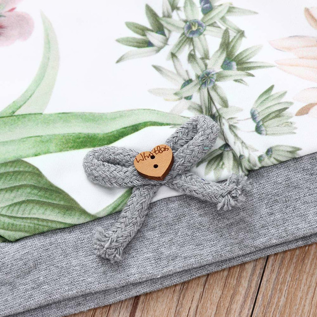 MUQGEW 2018 baby girls clothes set girls clothing 3PCs Floral Print Tops Pants Hat Winter clothes for children roupas menina 4