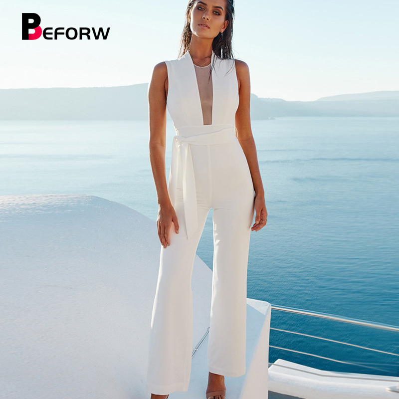 BEFORW 2019 Women Sexy Sleeveless V Neck Lace Up Wide Leg Long Jumpsuit Overalls Body suit White Causal Rompers macacao feminino