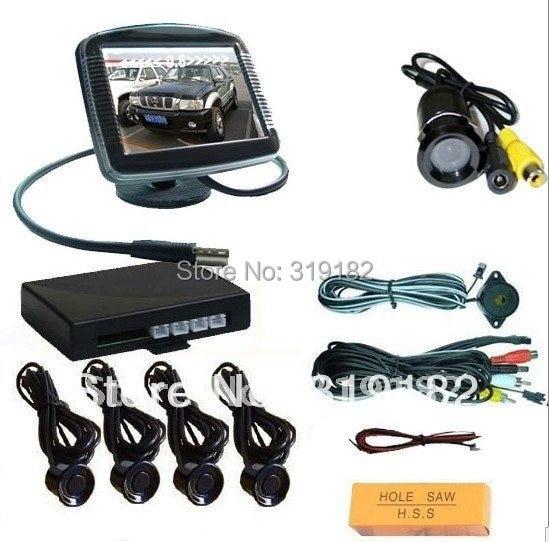 Discount parking camera system /3.5monitor reverse camera video parking sensor/3.5 monitor 2ch av in + minicamera+parking sensor