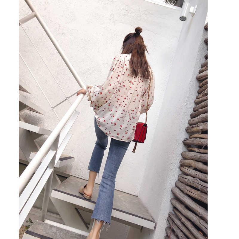 Mishow 2019 נשים אופנה מקרית שיפון חולצות פרחוני ארוך שרוול חולצה גבירותיי קוריאני חולצות MX17D4547