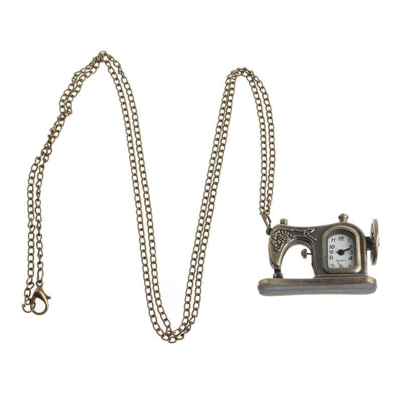 Sewing Machine Pocket Watch Quartz Fashion Vintage Necklace Charm Pendant Watches Bronze Antique Decoration Jewelry Gifts Creati