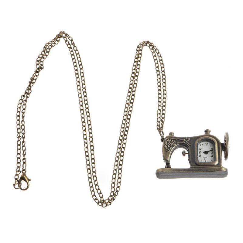Sewing Machine Pocket Watch Quartz Fashion Vintage Necklace Charm Pendant Watches Bronze Antique Decoration Jewelry Gifts Creati