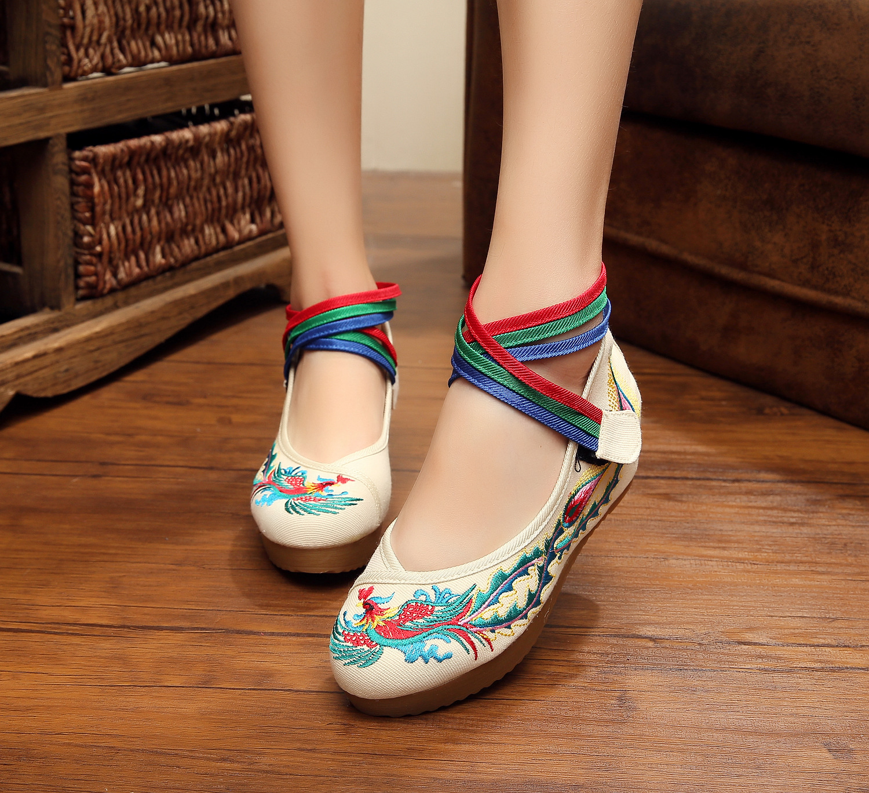 Women 5cm Medium Heel Old Peking Cloth Shoes Ladies Wedges Embroidered Female Pumps Platform Crossed Strap
