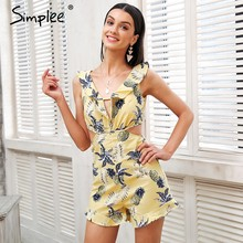 de8c3671fa3 Simplee Sexy deep v neck print jumpsuit Ruffle backless casual rompers women  overalls Hollow out beach summer playsuit female