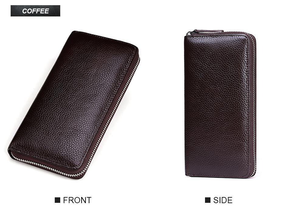 Topdudes.com - Genuine Leather Long Portfolio Wallet with Coin Pocket