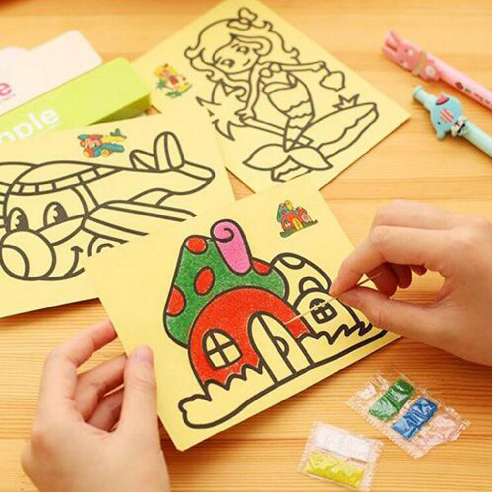 5pcs/lot Kids DIY Color Sand Painting Art Creative Drawing Toys Sand Paper Art Crafts Toys For Children Sands Painting Spdc12b87