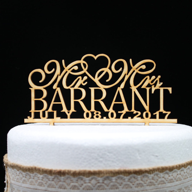 Customized Rustic Wedding Cake Topper Personalized Wooden Last Name And Date Mr Mrs