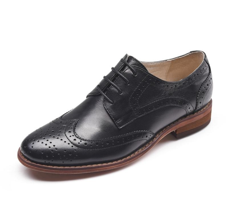Brogue echt leer vrouwen schoenen mode toevallige carrière werk jurk schoenen vrouw oxford carving lace up platte schoenen maat 34 42 - 3