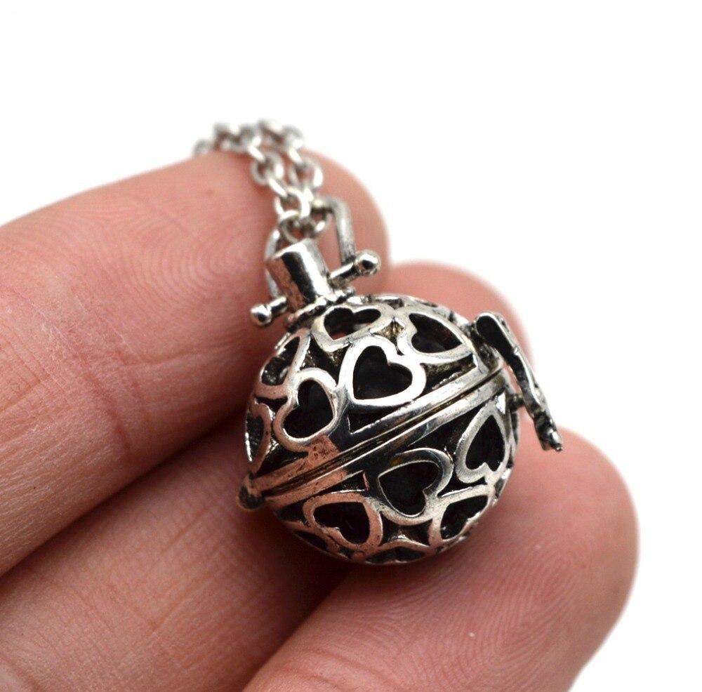 10pcs Filigree Heart Small Lockets Pendant With Lava Essenti