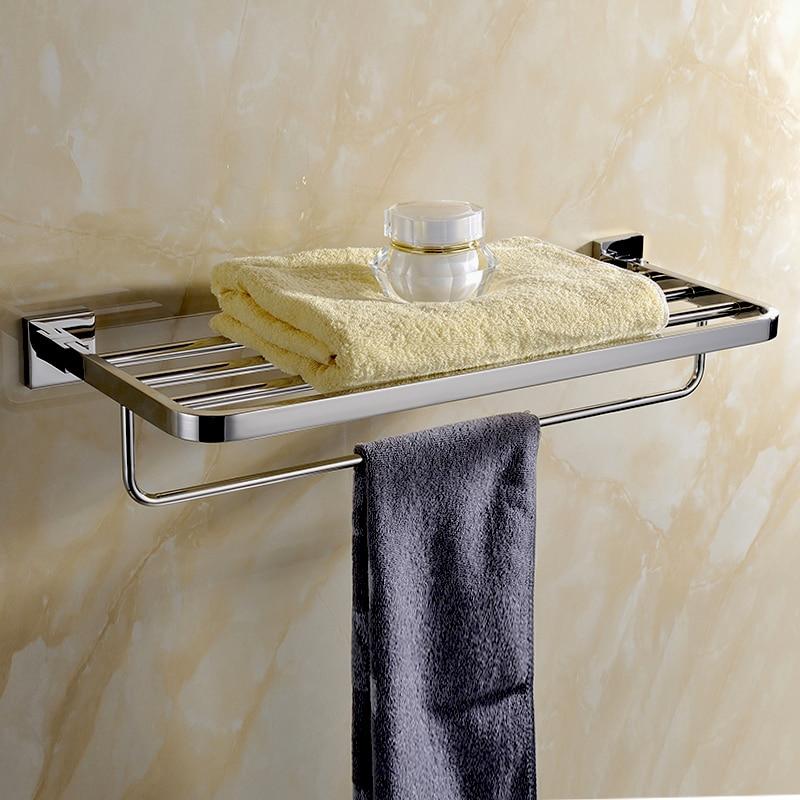 цены 2016 Modern SUS 304 Stainless Steel Bathroom Towel Holder Polish Fashion Fixed Bathroom Towel Holder 60CM Length AU5000-1